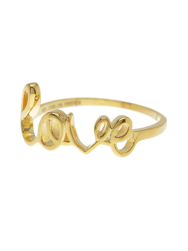 14K Gold Vermeil Love Ring - Sterling Forever