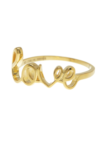 Sterling Silver 14K Gold Love Ring