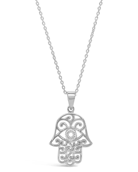 Sterling Silver Lace Hamsa Pendant Necklace Necklace Sterling Forever Silver