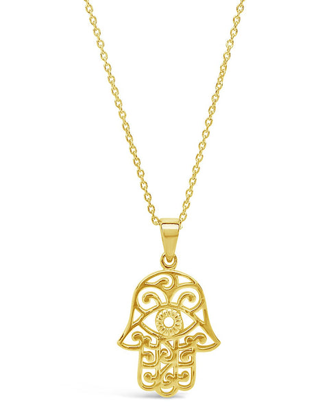 Sterling Silver Lace Hamsa Pendant Necklace Necklace Sterling Forever Gold