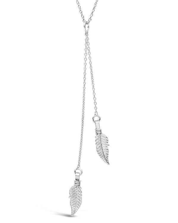 Sterling Silver Feather Y Necklace - Sterling Forever