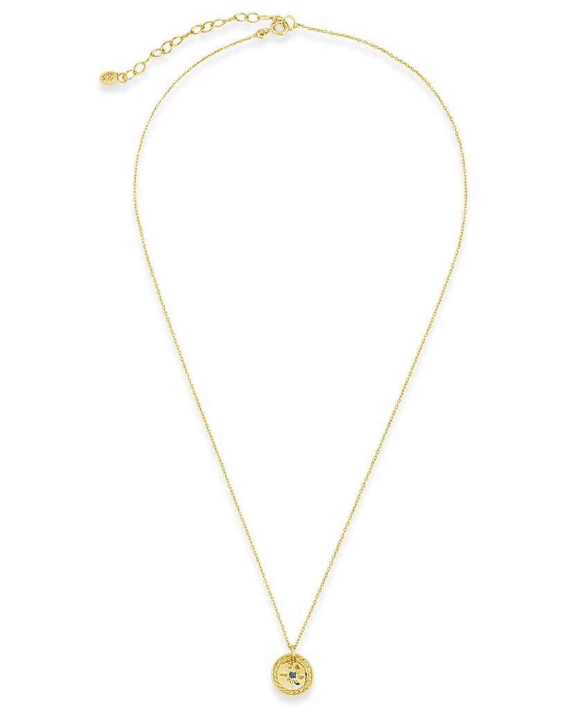 14K Rose Gold Vermeil CZ Burst Disc Pendant Necklace - Sterling Forever