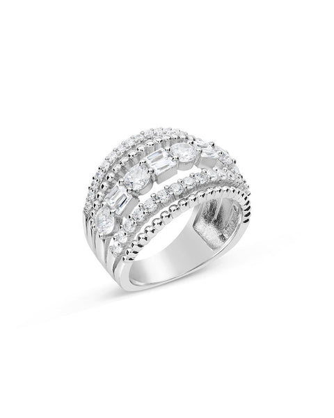 Sterling Silver Multi Row CZ Stacked Ring
