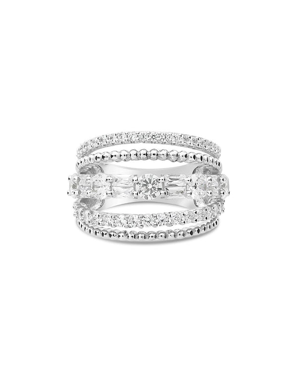 Sterling Silver Multi Row CZ Stacked Ring - Sterling Forever