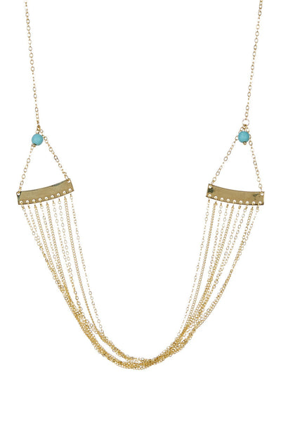 Turquoise Accent Multi-Chain Drop Necklace