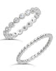Sterling Silver Bezel Set CZ & Beaded Band Stackable Ring Set - Sterling Forever