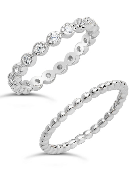 Sterling Silver Bezel Set CZ & Beaded Band Stackable Ring Set Ring Sterling Forever