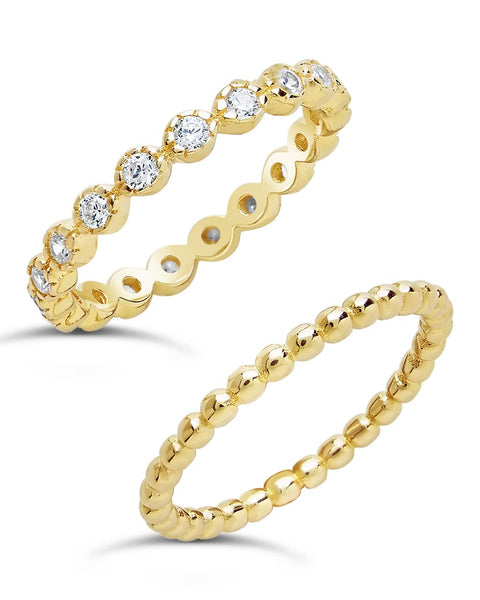 Sterling Silver Bezel Set CZ & Beaded Band Stackable Ring Set