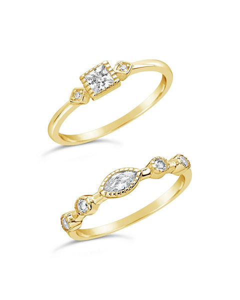 14K Gold Vermeil CZ Band Ring Set of 2 - Sterling Forever
