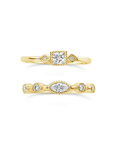 14K Gold Vermeil CZ Band Ring Set of 2 Ring Sterling Forever Gold 6