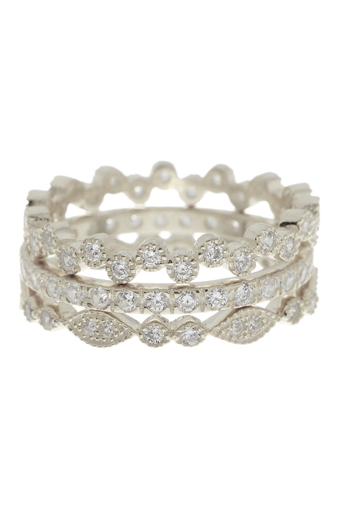 Sterling Silver CZ Stackable Ring Set - Set of 3 - Sterling Forever