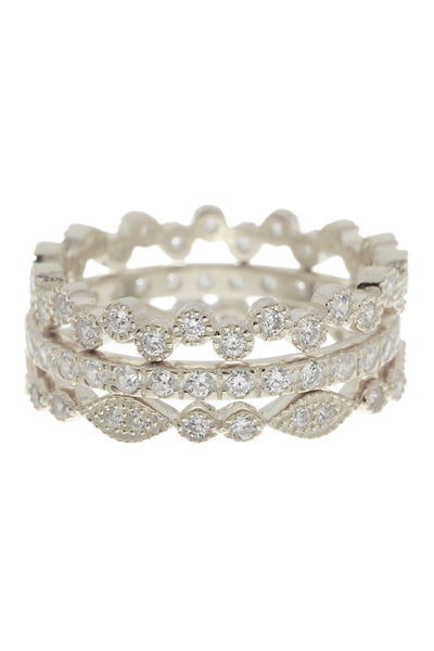 Sterling Silver CZ Stackable Ring Set - Set of 3