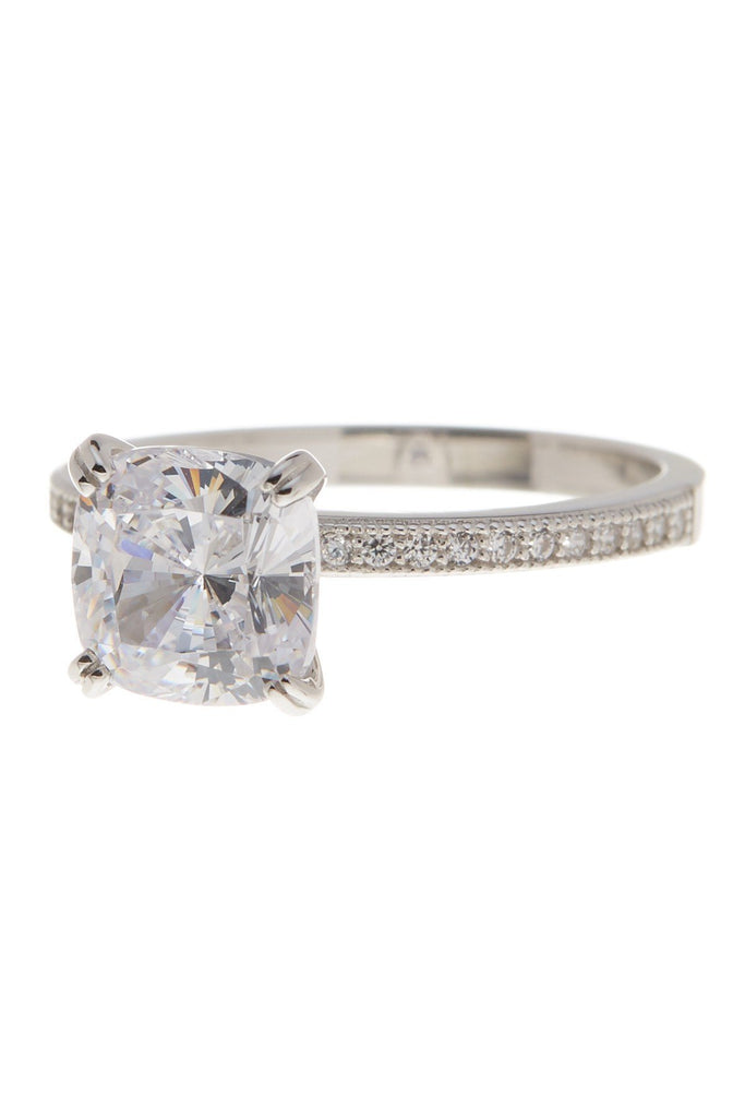 Sterling Silver Cushion CZ Solitaire Ring