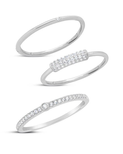 Sterling Silver Dainty 3pc CZ Stacking Ring Set Ring Sterling Forever