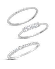 Sterling Silver Dainty 3pc CZ Stacking Ring Set