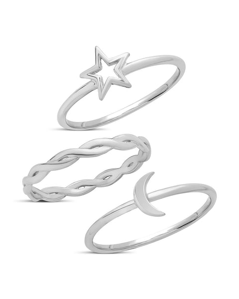 Sterling Silver Celestial Stacking Ring Set of 3