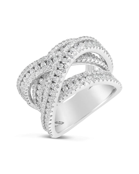 Sterling Silver CZ Multi Cross Bezel Ring
