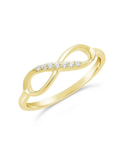 14K Gold Vermeil Pave CZ Infinity Ring