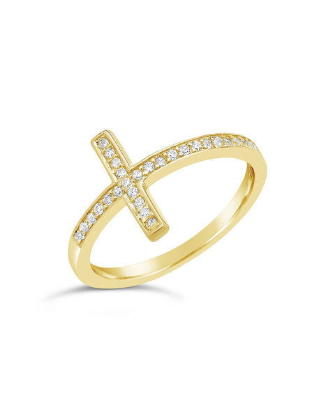 Sterling Silver Pave CZ Cross Ring