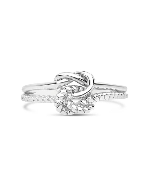 Sterling Silver Double Love Knot Rope Trim Ring