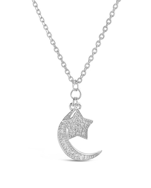 Sterling Silver CZ Moon & Star Necklace Necklace Sterling Forever Silver