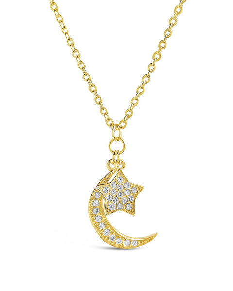Sterling Silver CZ Moon & Star Necklace Necklace Sterling Forever Gold