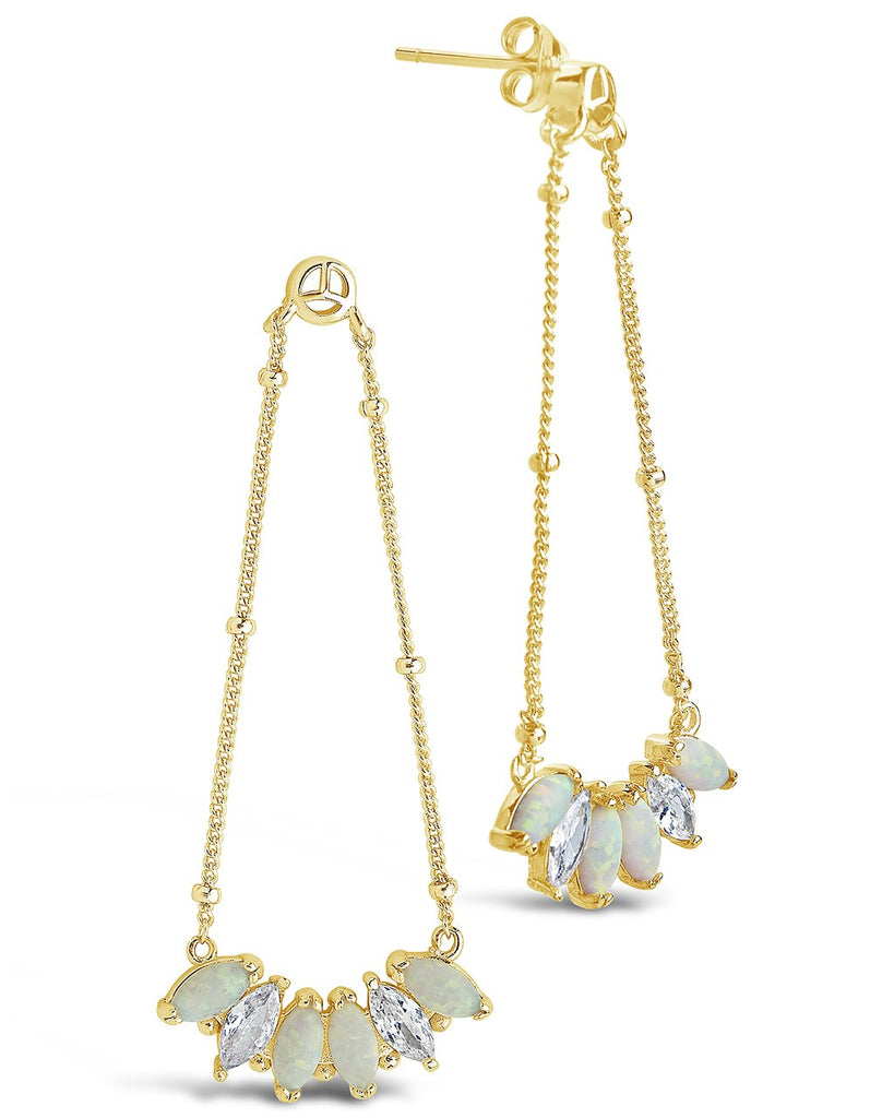 14K Gold Vermeil Opal Marquis Dangle Earrings
