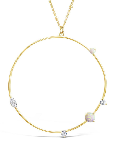 14K Gold Vermeil Opal Circle Pendant Necklace Necklace Sterling Forever Gold