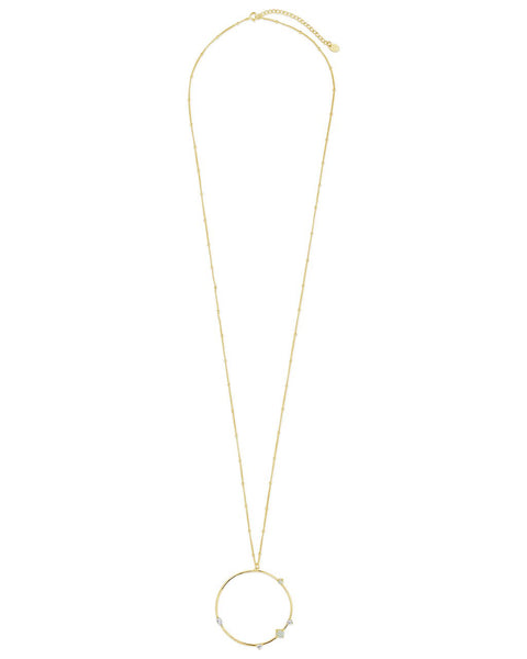 14K Gold Vermeil Opal Circle Pendant Necklace