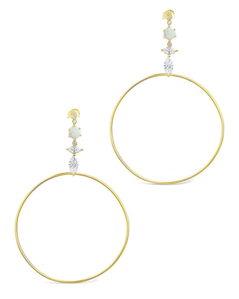 14K Gold Vermeil Opal Stud Hoop Drop Earrings