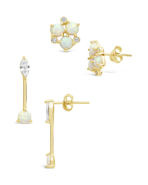 Created Opal & CZ 2pc Earring Set Earring Sterling Forever Gold