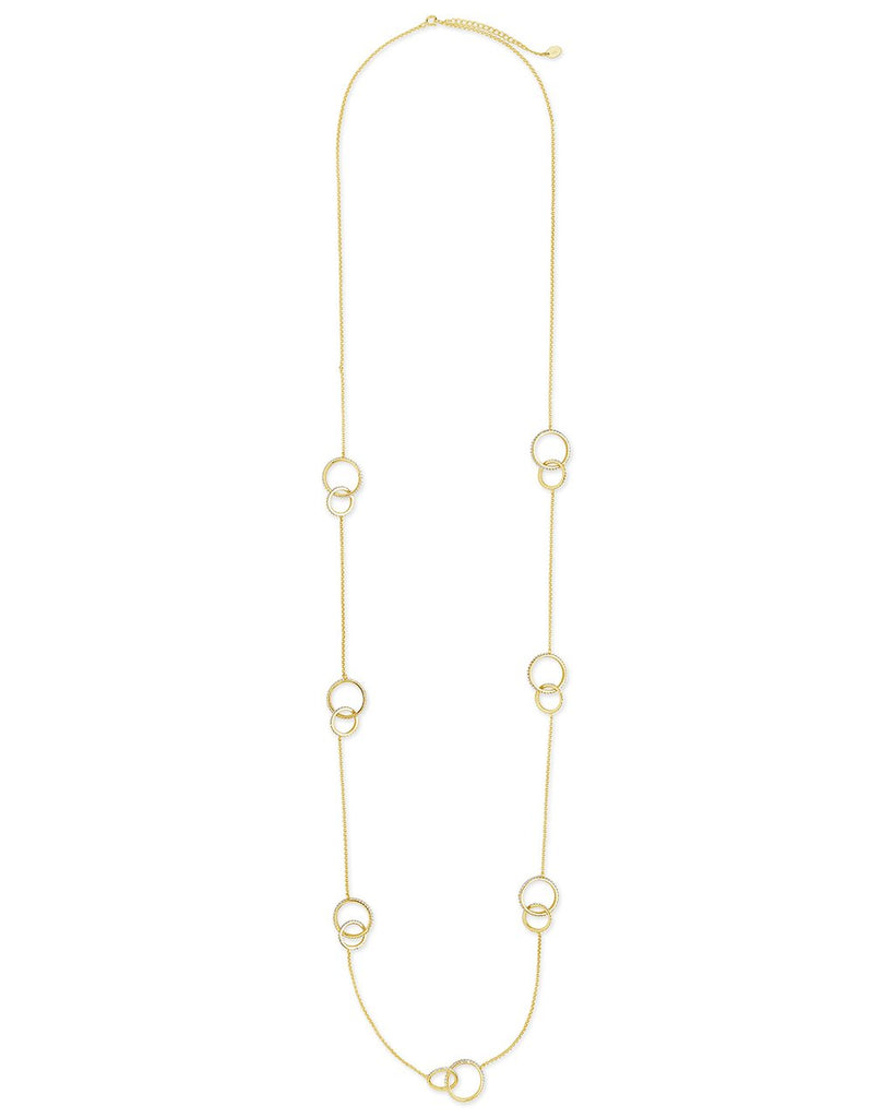 14K Gold Vermeil CZ Linked Circles Long Necklace - Sterling Forever