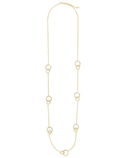 14K Gold Vermeil CZ Linked Circles Long Necklace