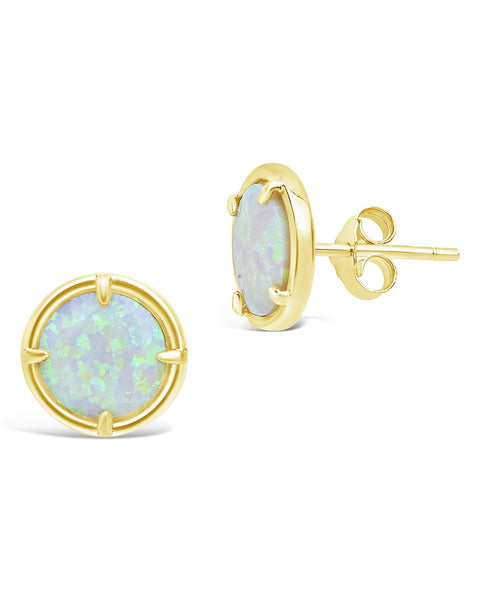 14K Gold Vermeil Four Point Opal Stud Earrings