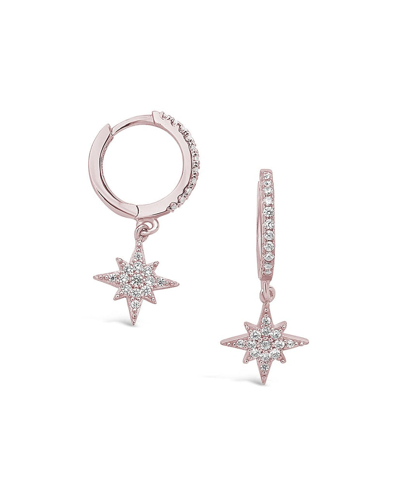 Sterling Silver CZ Star Burst Hoop Earring - Sterling Forever