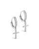 Sterling Silver CZ Cross Micro Hoop Earrings - Sterling Forever