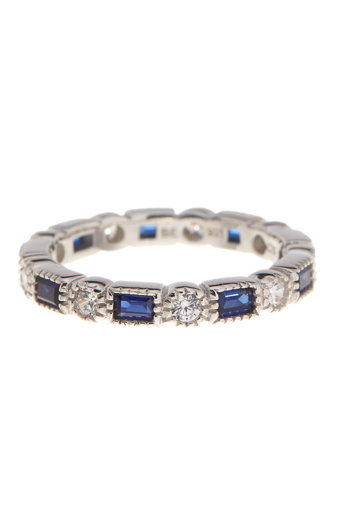 Sterling Silver CZ Art Deco Eternity Ring