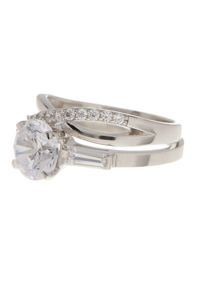 Sterling Silver Round CZ Crisscross Solitaire Ring Set