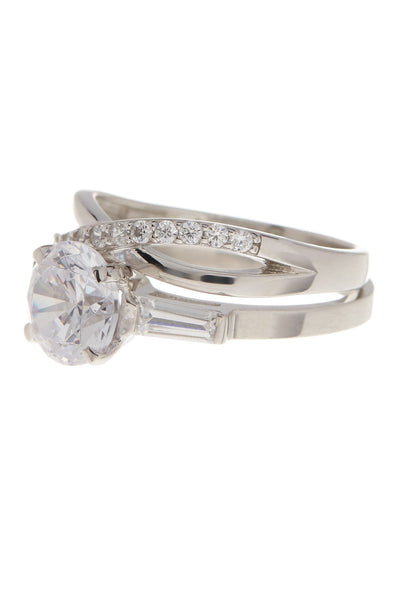 Sterling Silver Round CZ Crisscross Solitaire Ring Set - Sterling Forever