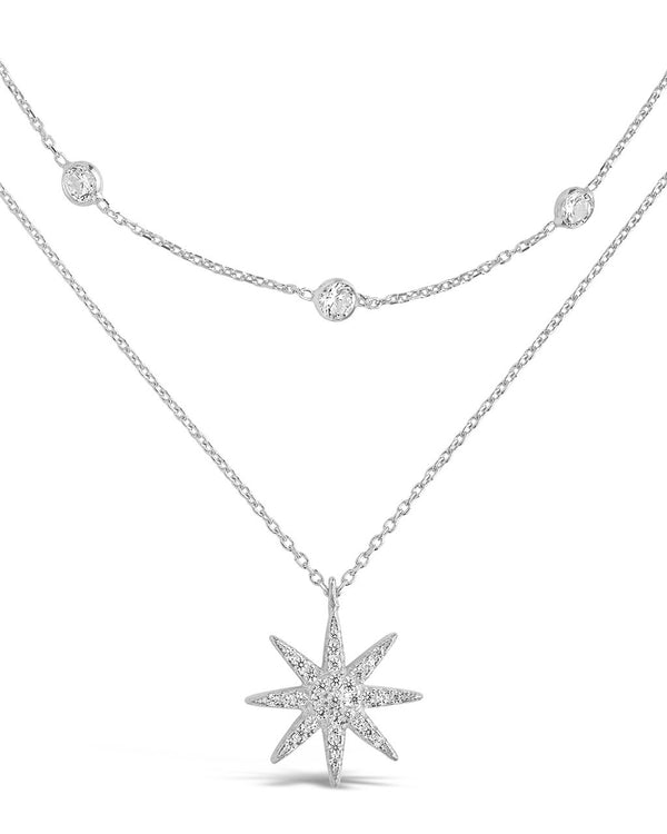 Sterling Silver Layered Burst Pendant Necklace - Sterling Forever