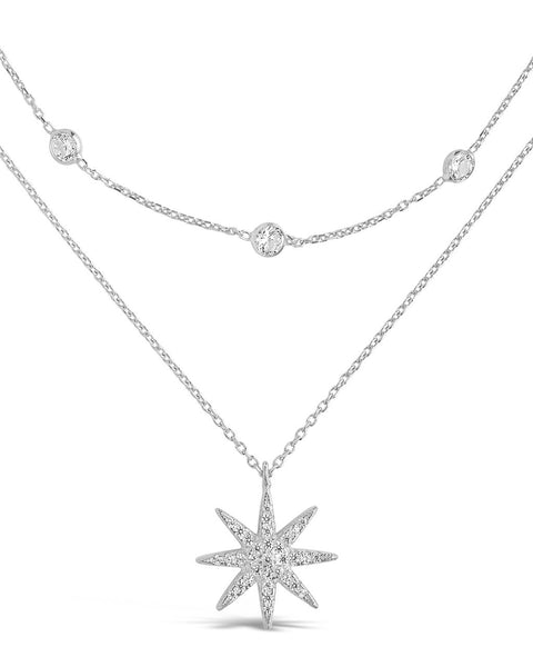 Sterling Silver Layered Burst Pendant Necklace