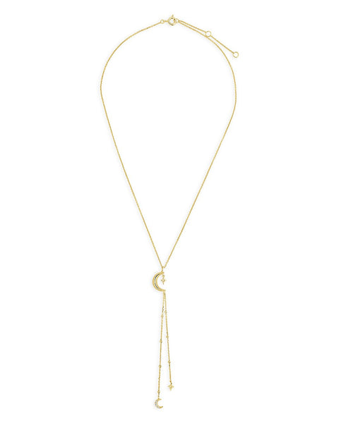 14K Gold Vermeil Crescent Moon Y Drop Necklace