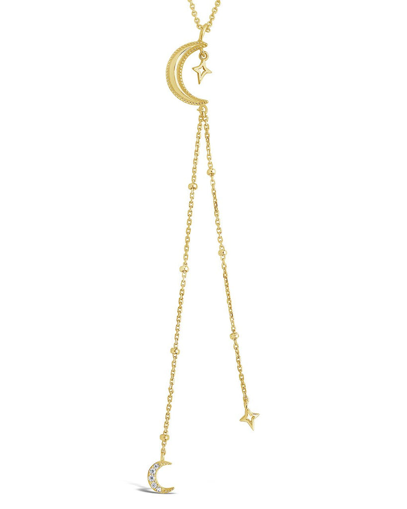 Sterling Silver Crescent Moon Y Drop Necklace - Sterling Forever