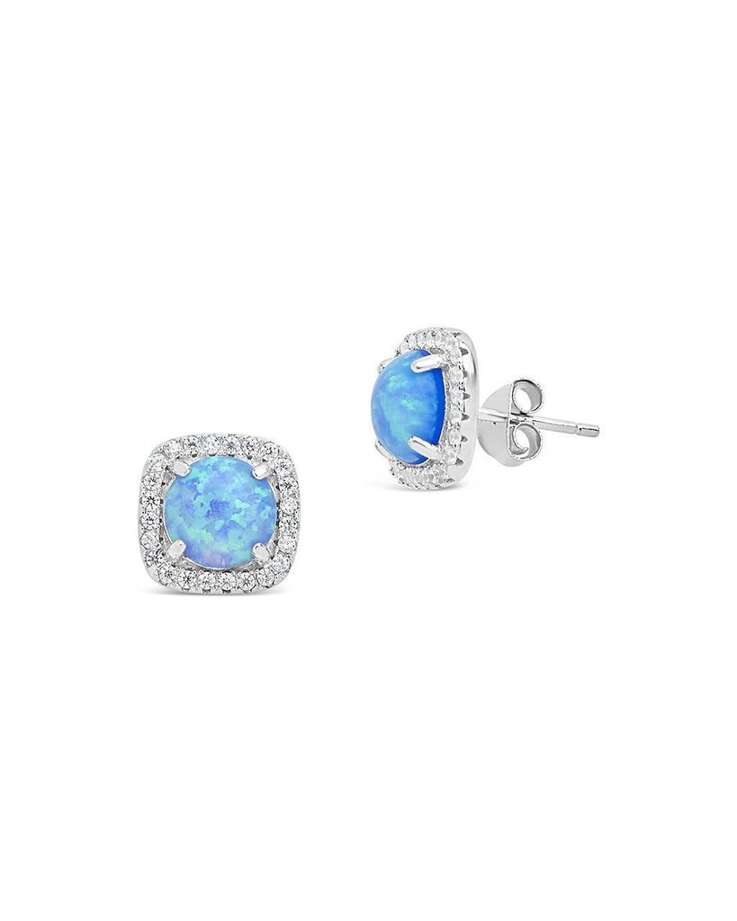 Sterling Silver Opal Halo Stud Earrings