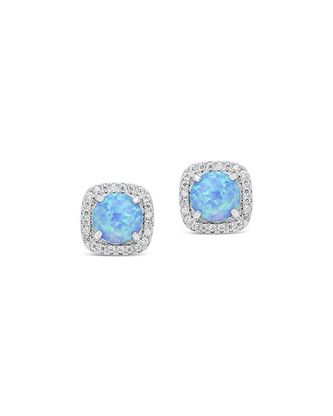 Sterling Silver Opal Halo Stud Earrings Earring Sterling Forever Silver