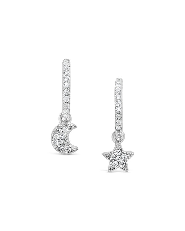 Moon & Star CZ Micro Hoops - Sterling Forever