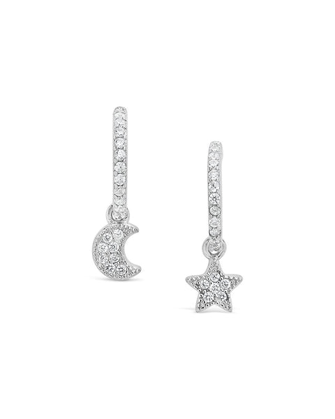 Moon & Star CZ Micro Hoops Earring Sterling Forever Silver