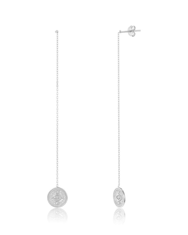 Evil Eye Round Threader Earrings - Sterling Forever