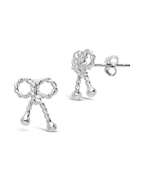 Sterling Silver Twist Bow Earrings
