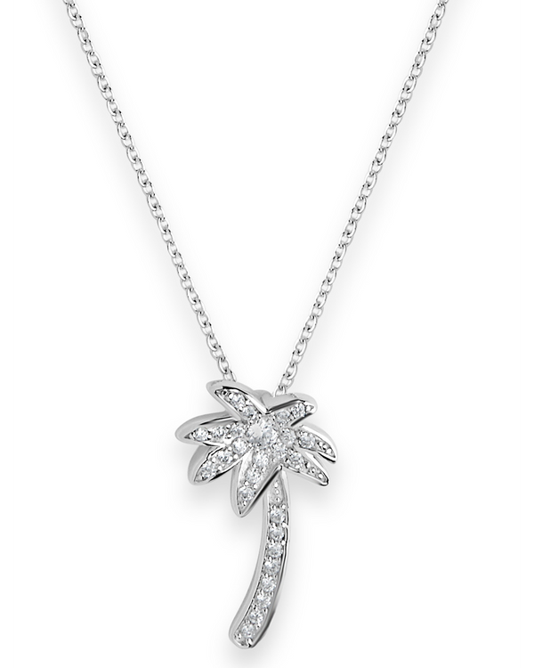 Sterling Silver Palm Tree Pendant Necklace - Sterling Forever